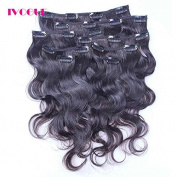 iVogue Hair Clip In Human Hair Extensions Body Wave Virgin Brazilian Human Hair Clip Ins 8 Pcs Natural Black Colour Full Head Set Clip In Hair 30cm 41cm