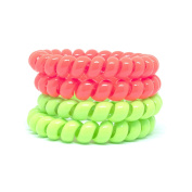 Juicy Accessories Colourful Telephone Stretchy Wire Cord Elastic Hair Ties Pony Holders - Large Boutique Girls Stretchy Elastic Hair Ropes Bands for women and Ladies (2Tone-