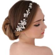 eshion Fashion Women Beads Rhinestone Flower Wedding Bride Bridal Party Headband Hair Pieces