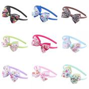 AWAYTR Baby Girl Infant Hair Hoop Boutique Grosgrain Ribbon Hair Bow Headband Set