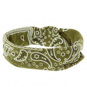 Icing Olive Green Paisley Bandana Knotted Jersey Headwrap