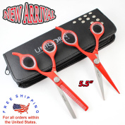 New Arrivals 2017 - Hair Cutting Scissors Set 14cm ,Stainless Steel Scissors,Barber Shears & Thinning Shears + Free Leather Case - Suitable for barbers & personal Use