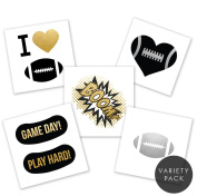 Football Fanatic Variety Pack set of 25 assorted premium waterproof metallic gold/silver/black game day temporary foil Flash Tattoos