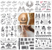 10 Sheets Temporary Tattoo Hand Finger Shoulder Neck Arm Tattoo Waterproof