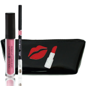 Dollup Beauty Lippie Kit - 3PC Gift Set Includes Lipstick & Lip Liner With Handcrafted Cosmetic Lip Bag