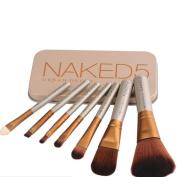 Makeup Brushes Set with Case - Naked5 Makeup Brush Set - 7 PCS/ - Foundation Brushes with Beauty Case
