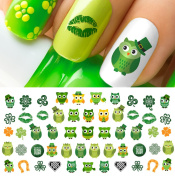 St. Patricks Day Owls Set #4 Water Slide Nail Art Decals - Salon Quality!