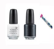 Konad Stamping Nail Art DIY Special Nail Polish White 5ml and Black 5ml with One Ganda Nail Buffer