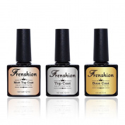 Frenshion Soak-off UV LED Gel Nail Polish 3pc 12ml Base Coat & Matte Top Coat & Top Coat Kit Set