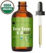 Organic Tea Tree Essential Oil (30ml), USDA Certified, 100% Pure Therapeutic Premium Grade, Diffuser Ready, Remove Fungus on Toenails. Remove Skin Tags. Reduce Acne, Dark Spots, Redness. Repair Nails.