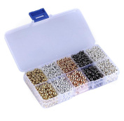 1Box 5 Colours Mix Tiny Metal Plated Spacer Round Ball Beads 4mm and 6mm with Transparent Case for Jewellery Making Findings DIY Crafts