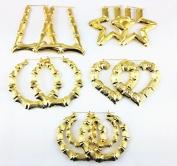 Honbay 5 Pairs Different Shape Bamboo Hoop Earrings