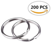 "HoneyToys 200PCS 1""(25mm) Nickel Plated Silver Steel Round Split Circular Keychain Ring for Car Home Keys"