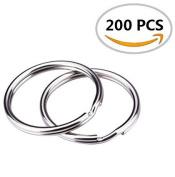 "HoneyToys 200PCS 1""(25mm) Nickel Plated Silver Steel Round Split Circular Keychain Ring for Car Home Keys"