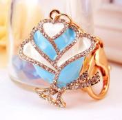 Elfstore Beautiful ROSE figure new fashion rhinestone key chain purse clip