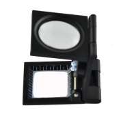 NewSilkRoad 10X 28mm Compact Foldable Repair Measure Magnifier Glass Lens Jewellery Loupe with LED Light and Measure Scale