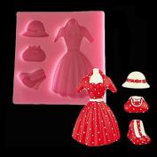 Woman Hat Handbag Dresses High heel shoes Shape Fondant Cake Decoration Mould Chocolate Princess Silicone Mould Tool