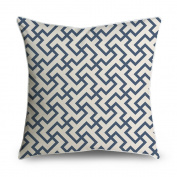 FabricMCC Throw Pillow Cover Greek Geometric Pattern Navy and Cream Square Accent Decorative Pillow Case Cushion Cover 18x18