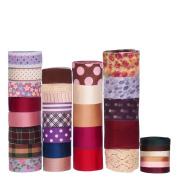 RayLineDo 32x1Yard Mixed Style/Size Solid Grosgrain Ribbon Satin Ribbon Snow Yarn Ribbon Printed Ribbon Cotton Lace Ribbon in Pink Series