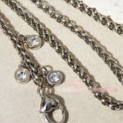 Love buckle Diamonds-shaped Metal Chain 80cm Long Silvery Tone Mini Purse/Shoulder/Cross Body Bag Replacement Metal Strap