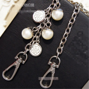 Width 7MM Pearl And White Camellia shape Metal Chain 39 inch Long Silvery Tone Mini Purse/Shoulder/Cross Body Bag Replacement Metal Strap