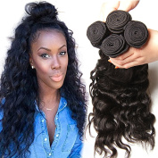 KLAIYI Virgin Brazilian Natural Wave Curly Hair Bundles Human Hair Weft Weave Extensions 95-100g/ bundle pack of 3 Natural Colour