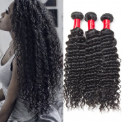 Vipbeauty 7A Grade Brazilian Curly Wave Hair 3 Bundles 100% Unprocessed Human Hair Natural Black 95-105g/pc