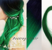 Off Black to Green Mermaid Colourful Two Colours Ombre Hair Extensions, Indian Remy Clip in Ombre Human Hair Extensions RHS264