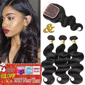 QTHAIR 8A Grade Brazilian Body Wave Hair 3 Bundles With Closure Free Part 100% Unprocessed Brazilian Virgin Hair 130% Density 44 Lace (20 22 24+18) Bleached Knots With Baby Hair