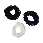 Set of 3 Braided Hair Scrunchies Pony Holders for Women and Girls - White Navy Black