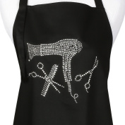 Hair Stylist Apron with Rhinestone Scissor and Comb Design, Black with 3 Pockets