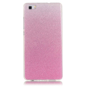 Moonmini Gradient Colour Sparkling Glitter Ultra Slim Fit Soft TPU Phone Back Case Cover for Huawei Ascend P8 Lite - Pink