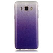 Moonmini Gradient Colour Sparkling Glitter Ultra Slim Fit Soft TPU Phone Back Case Cover for Samsung Galaxy J5 (2016) J510 - Purple