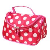 Cosmetic Bag, Misaky Polka Dot Flip Double Zipper Toiletry Kits
