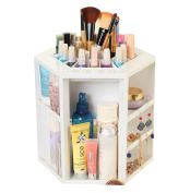 GAMT Large Capacity 360 Degree Rotating Cosmetic Storage Box White