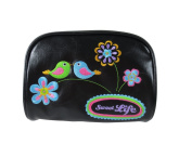 Little Cute Love Birds and Flowers Embroidered Vegan Leather Makeup Pouch