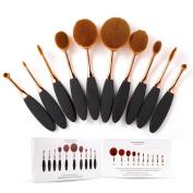 Rosabeauty 10 Pcs Super Soft Oval Toothbrush Makeup Brush Set Foundation Brushes Cream Contour Powder Blush Concealer Brush Makeup Cosmetics Tool Kit For Face And Eyes