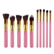 Pinkiou Foundation Powder Brush Kabuki Concealer Blush Makeup Brushes 10pcs Makeup brushes Kit Professional Nylon Hair Make Up brush set