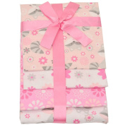 Cudlie Baby Girls Pink Floral Print Soft Ribbon Wrapped Blanket Set