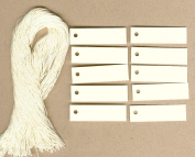 "100 Blank IVORY Hang Tags (1.3cm x 2"") & 100 Ivory Cut Strings for Crafts & Gifts. Personalise & Price your merchandise."
