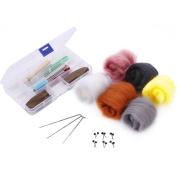 OPount Needle Felting Starter Kit Wool Felt Tools with 6 Colours Wool Roving Felting Basic Kit