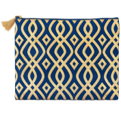 Mud Pie 8613284N Shimmer Juco Carry All Clutch Navy,Lattice