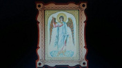Guardian angel icon on a wooden stand 80 x 110 mm