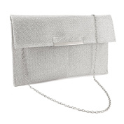 Anladia Slim Metal Bar Flap Glitter Shimmer Lurex Envelope Clutch Women Carry Handbag