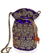 Purpledip Traditional Silk Potli bag for Women,Purple