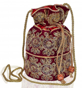 Purpledip Traditional Silk Potli bag for Women,Maroon