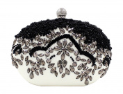 Women's Pearl Beaded Black White Hardbox Evening Cluth Purse
