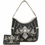 Cowgirl Western Women Concealed Carry Cross Peace Dove Country Purse Handbag Shoulder Bag Wallet Set BLK