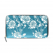 BYouLockX Women's Blue And White Pattern Long Leather Card Zipper Wallet Purse Clutch