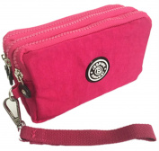 J-BgPink Three Layer Zipper Purse Waterproof Nylon Wallet Clutch Handbag Cell Phone Pouch